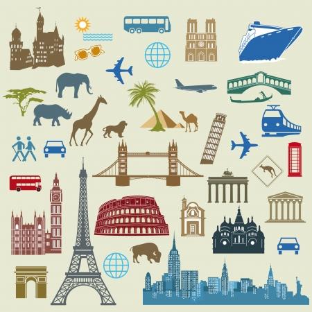 세계 여행, 유명한 국제 랜드 마크 일러스트