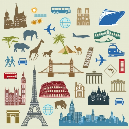 World Travel, Famous international landmarks Vector