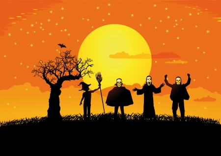 Halloween with silhouettes of children Vector