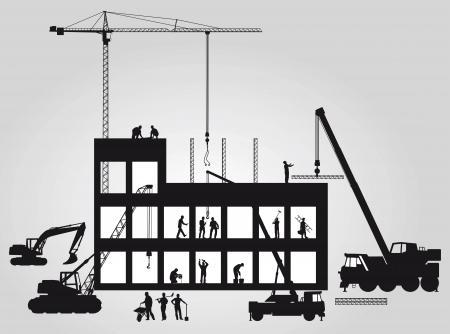 建築現場クレーン  イラスト・ベクター素材
