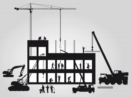 Construction site with crane Vector