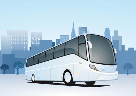 여행: 버스로 도시 여행 일러스트