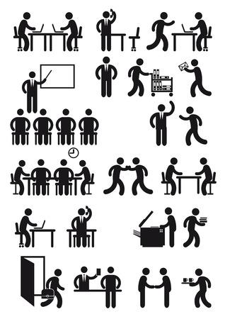 conversations: Postazione di lavoro dell'ufficio e di business Vettoriali