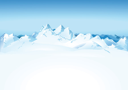High mountains in the snow Vector