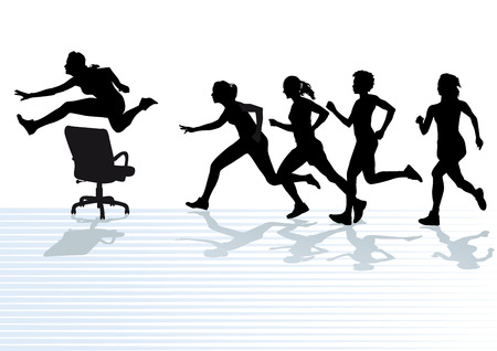 female athlete: Hurdles in the office Illustration