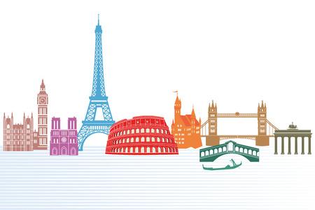 etiquetas redondas: monumentos de Europa