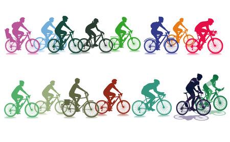 グループでのサイクリング  イラスト・ベクター素材