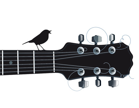 Guitar with singing bird Vector
