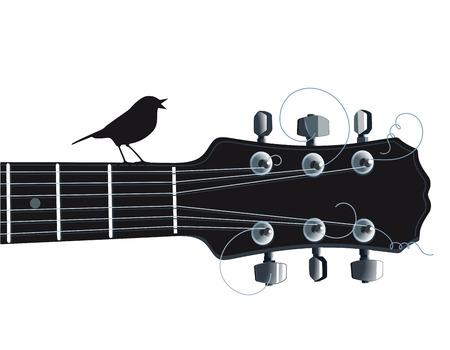 guitar neck: Guitar with singing bird