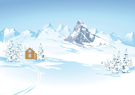 hill distant: Mountain views in winter landscape