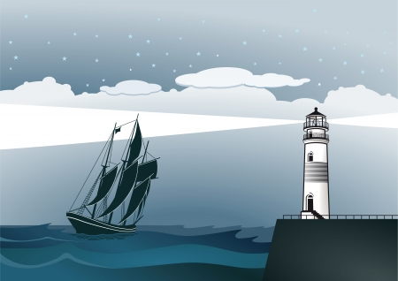 Coast with lighthouse and sailing ship Vector