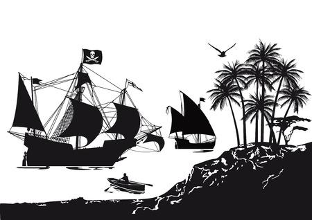 barco pirata: Barco pirata con la isla tropical de pirata