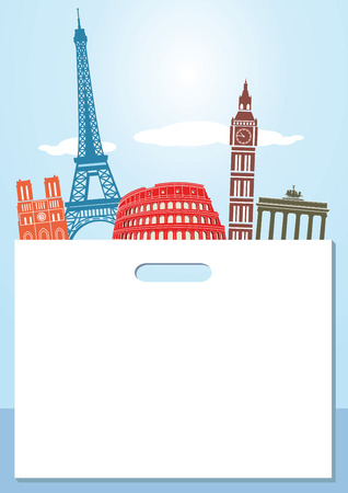 europe cities: Shopping tour in europe Illustration
