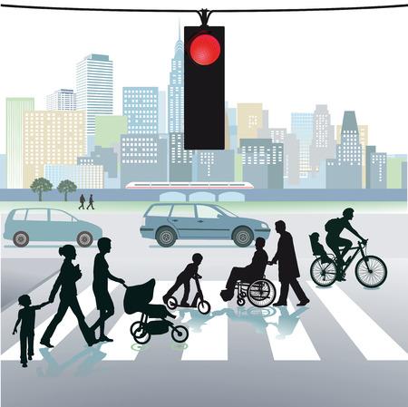 横断歩道上の歩行者  イラスト・ベクター素材