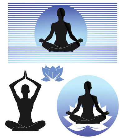 meditate: Yoga signs Illustration