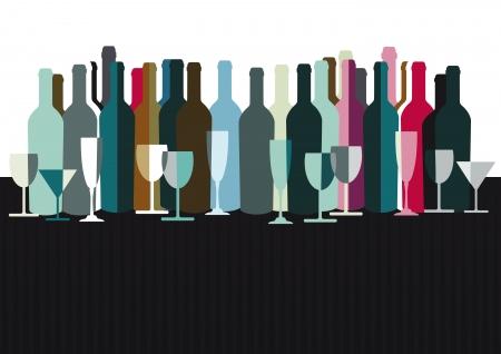 Espíritus y las botellas de vino Ilustración de vector