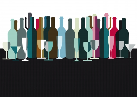 glas sekt: Spirituosen-und Weinflaschen