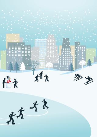 sledding: Winter in the city  Illustration