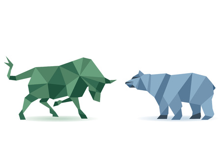 toros bravos: Oso y toro Vectores