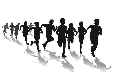 Niños corriendo carrera