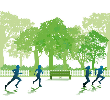 jogging in nature: Running people in the park