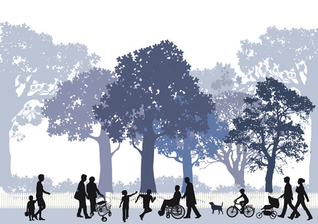 belonging: City park with people and children