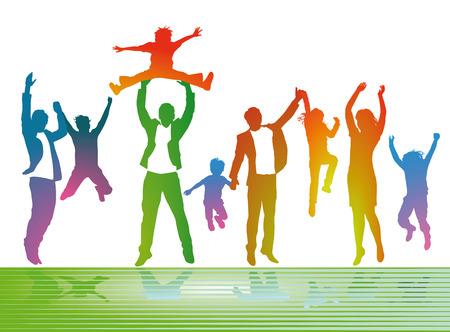 Ouders met kinderen zijn gelukkig Stock Illustratie