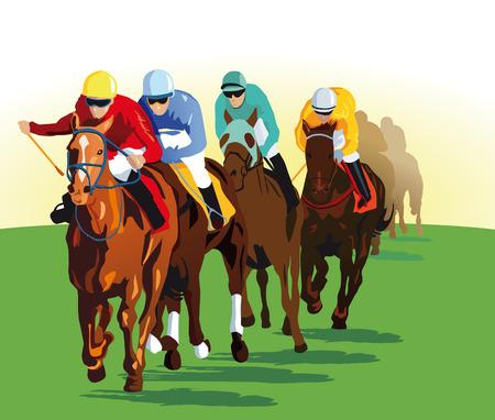 corse di cavalli: Galloping cavallo da corsa Vettoriali