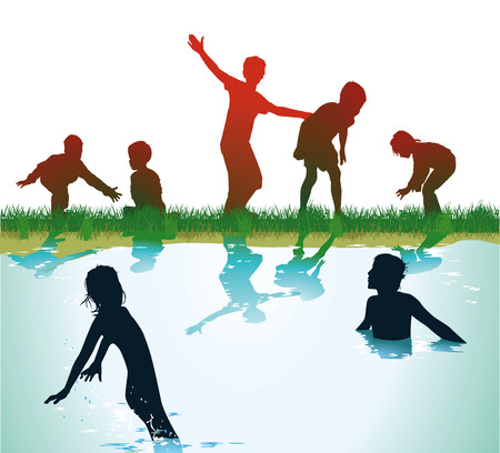 Children Bathing and play  Vector