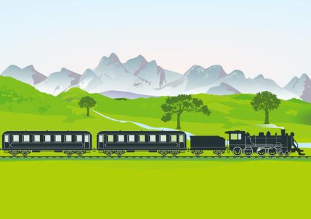 prato montagna: Treno a vapore di fronte al prato di montagna Vettoriali