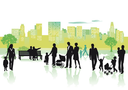 family hiking: People in the city