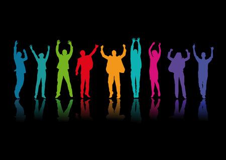 グループ内の喜びのためにジャンプ  イラスト・ベクター素材