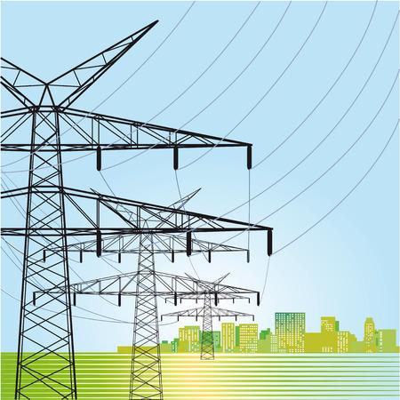 High voltage power pylons Vector