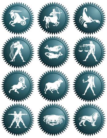 signos del horóscopo de la astrología del zodiaco Ilustración de vector