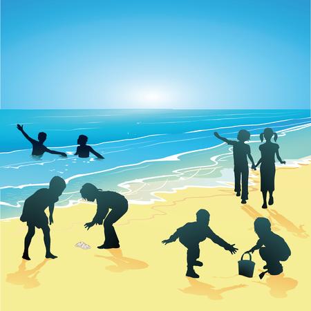 Children on the seaside  Vector