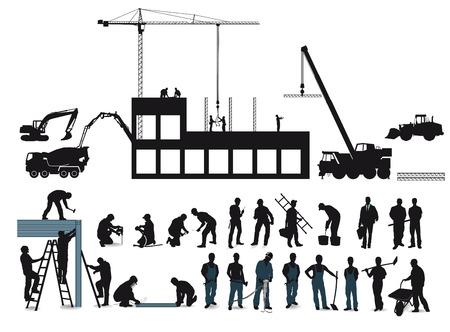 Bouwproject met bouwvakkers