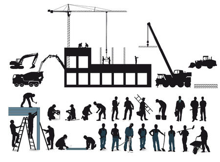 surveying: Construction project with construction workers
