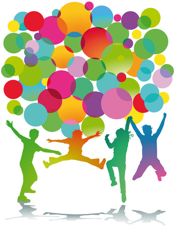Kids jumping colorful Banco de Imagens - 27524372