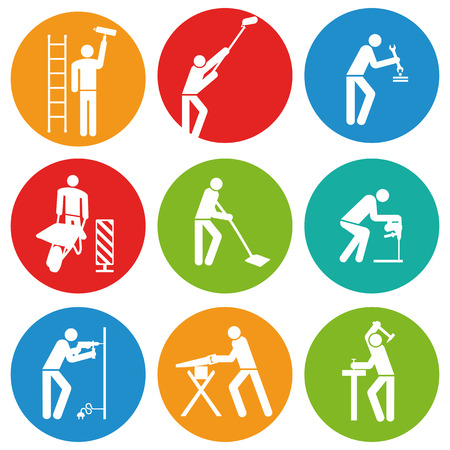 building cleaners button  Vector