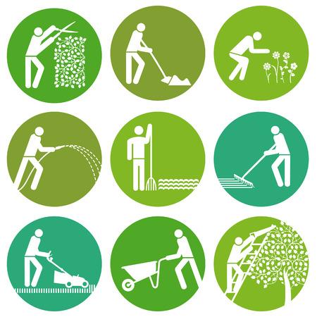 jardineros: Botón de Jardinería Vectores