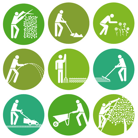 garden maintenance: Gardening Button  Illustration