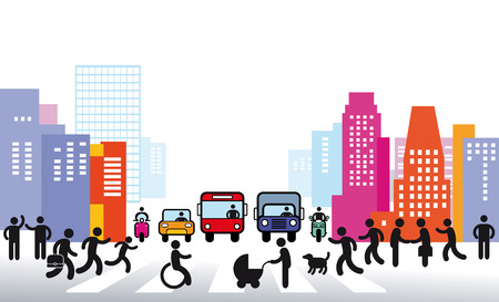 handicapped person: City and Traffic Illustration