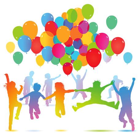 Children birthday with balloon  Illustration