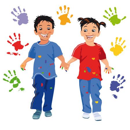 joking: Children with handprint  Illustration