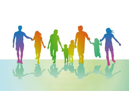 colorful family trip  イラスト・ベクター素材