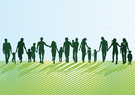 Parents with children and young people  Vector