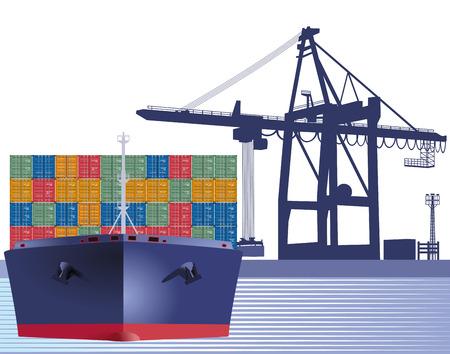 Barco con contenedores Ilustración de vector