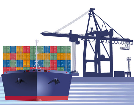 Ship with containers Vector