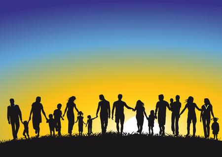 towards: Families in Sunrise  Illustration