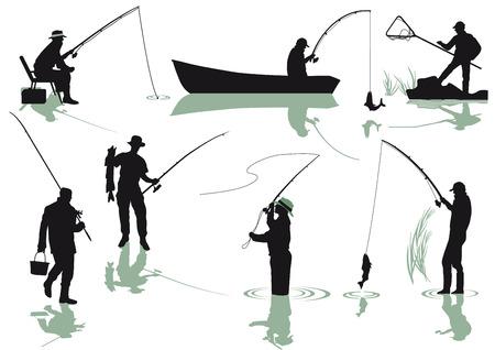 trucha: Los pescadores de pesca Vectores